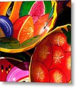 Brightly Painted Bowls At A Market - Mexico - Travel Photography By David Perry Lawrence Metal Print