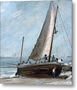 Brighton Beach With Fishing Boats Metal Print