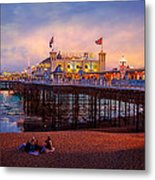 Brighton's Palace Pier At Dusk Metal Print