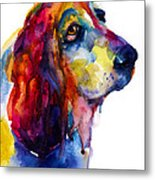Brilliant Basset Hound Watercolor Painting Metal Print