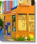 Bring Your Own Wine Restaurant Vents Du Sud Rue Roy Corner French Cafe Street Scene Carole Spandau Metal Print