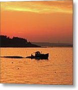 Bringing In The Lobster Pots Metal Print