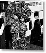 British Army Soldier With Mp5 On Crumlin Road At Ardoyne Shops Belfast 12th July Metal Print by Joe Fox
