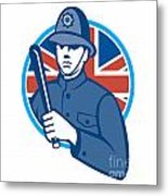 British Bobby Policeman Truncheon Flag Metal Print