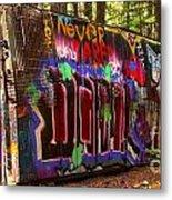 British Columbia Train Wreck Graffiti Metal Print