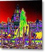 British Columbias Capitol Building At Night Metal Print