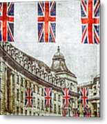 British Flags Flying Above Regent St Metal Print