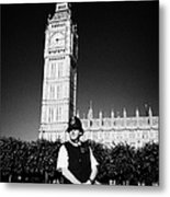 british metropolitan police office guarding the houses of parliament London England UK Metal Print