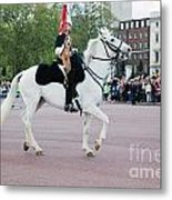 British Royal Guards March And Perform The Changing Of The Guard In Buckingham Palace Metal Print