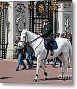 British Royal Guards Perform The Changing Of The Guard In Buckingham Palace Metal Print