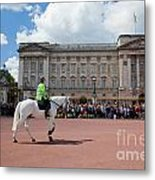 British Royal Guards Riding On Horse And Perform The Changing Of The Guard In Buckingham Palace Metal Print