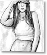 Britney Art Drawing Sketch Portrait Metal Print