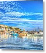 Brixham Devon England Uk English Harbour Summer Day With Blue Sky Traditional Coast Scene Metal Print