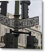 Broad Street And Meeting Street Charleston South Carolina Metal Print