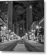 Broad Street At Night In Black And White Metal Print