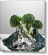 Broccoli Freshsplash Metal Print