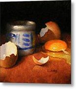 Broken Egg And Ceramic Metal Print by Timothy Jones