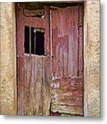 Broken Red Wood Door Metal Print