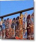 Broken Skateboard Fence Metal Print