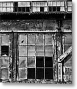 Broken Windows In Black And White Metal Print