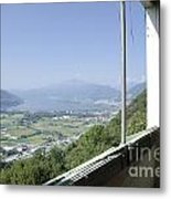 Broken Windows With Panoramic View Metal Print
