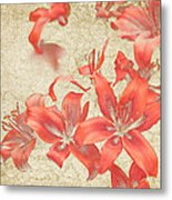 Bronze Lily Grunge Metal Print by Lesley Rigg