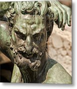 Bronze Satyr In The Fountain Of Neptune Of Florence Metal Print