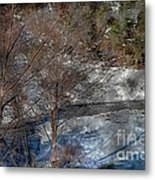 Brook And Bare Trees - Winter - Steel Engraving Metal Print