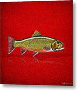 Brook Trout On Red Leather Metal Print