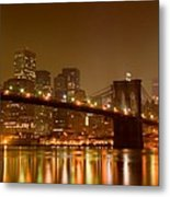 Brooklyn Bridge And Downtown Manhattan Metal Print by Val Black Russian Tourchin