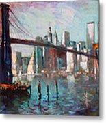 Brooklyn Bridge And Twin Towers Metal Print