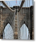 Brooklyn Bridge Cables Nyc Metal Print