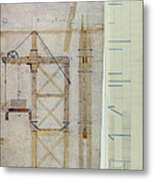 Brooklyn Bridge: Diagram Metal Print by Granger