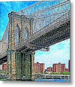 Brooklyn Bridge New York 20130426 Metal Print by Wingsdomain Art and Photography
