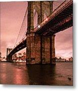 Brooklyn Bridge - Red Morning Metal Print