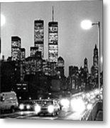 Brooklyn Bridge Traffic II Dusk 1980s Metal Print
