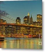 Brooklyn Bridge Twilight Panoramic Metal Print