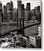 Brooklyn Bridge View In Sepia Metal Print