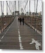 Brooklyn Bridge Walkway Metal Print