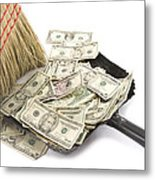 Broom Sweeping Up American Currency Metal Print