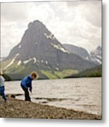 Brother And Sister Playing Near A Lake Metal Print