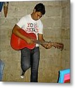 Brother Playing Guitar Metal Print