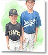 Brothers In Baseball Watercolor Portrait Metal Print