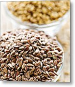 Brown And Golden Flax Seed Metal Print