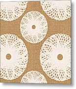 Brown And White Floral Metal Print