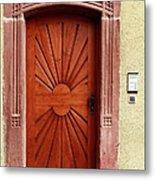 Brown Door Exterior Entrance Metal Print