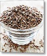 Brown Flax Seed Metal Print
