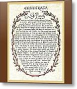 Brown Frame Color Wreath Desiderata Poem Metal Print
