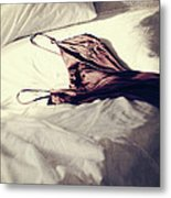 Brown Negligee Laying Across Sheets On Bed Metal Print by Sandra Cunningham