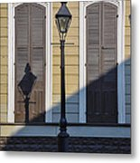 Brown Shutter Doors And Street Lamp - New Orleans Metal Print